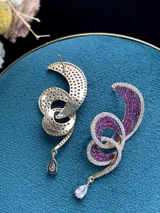 SUUTO Brass Cubic Zirconia Irregular Ethnic Drop Earring 2