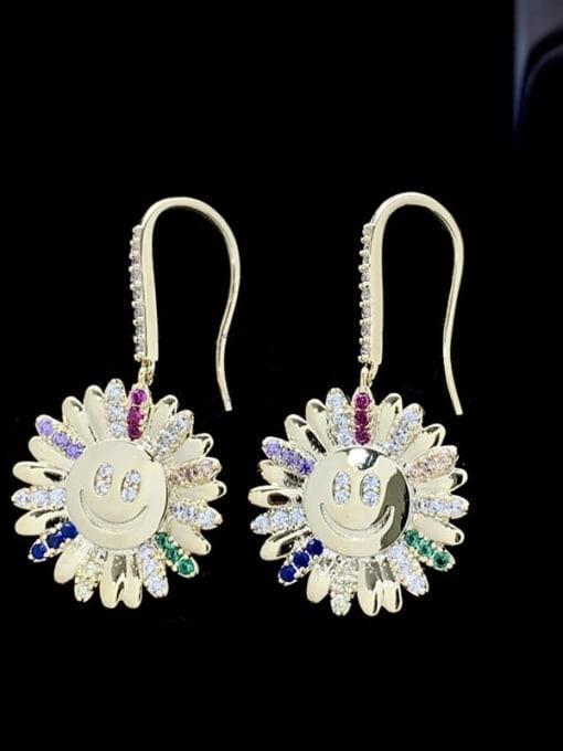 SUUTO Brass Cubic Zirconia Sun Flower Luxury Hook Earring