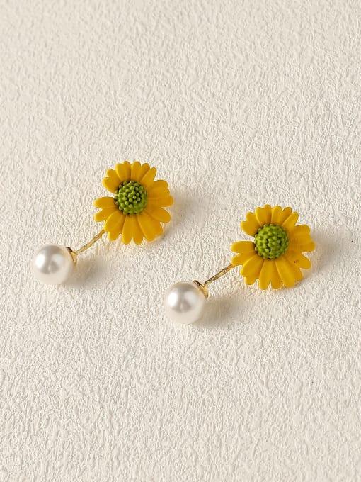 Lemon yellow Brass Imitation Pearl Enamel Flower Cute Drop Earring