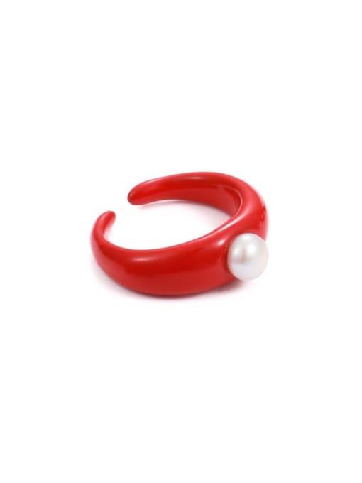 Pearl Ring Red (No. 6 ring) Zinc Alloy Enamel Geometric Minimalist Band Ring