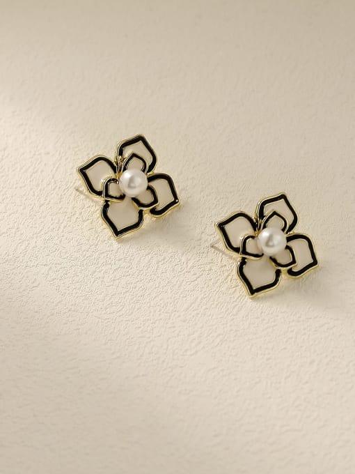 HYACINTH Brass Enamel Flower Vintage Stud Trend Korean Fashion Earring 0