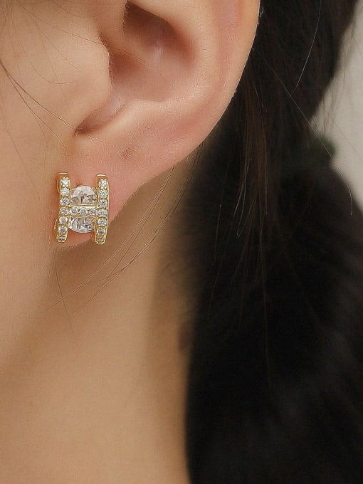 HYACINTH Brass Glass Stone Letter Minimalist Stud Trend Korean Fashion Earring 1