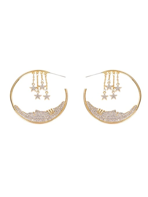 OUOU Brass Cubic Zirconia Geometric Ethnic Huggie Earring 3