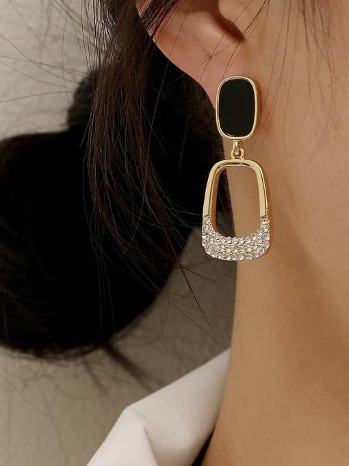 HYACINTH Brass Rhinestone Enamel Geometric Vintage Drop Trend Korean Fashion Earring 1