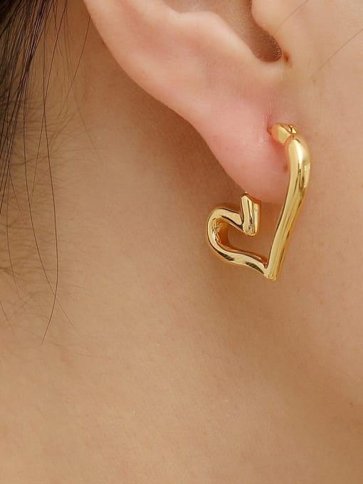 HYACINTH Brass Hollow Heart Minimalist Huggie Trend Korean Fashion Earring 1