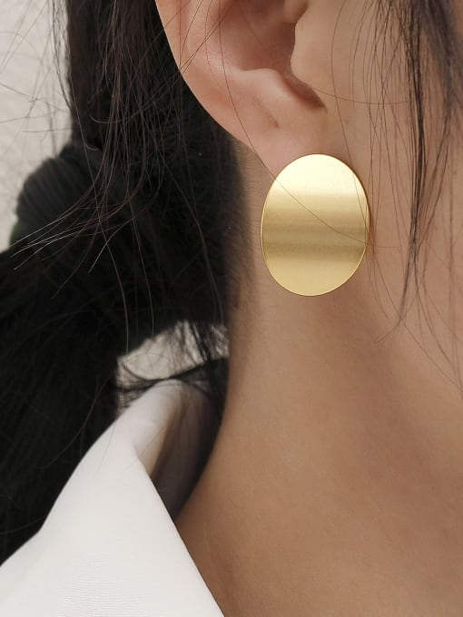 HYACINTH Brass Smooth Geometric Minimalist Stud Earring 1