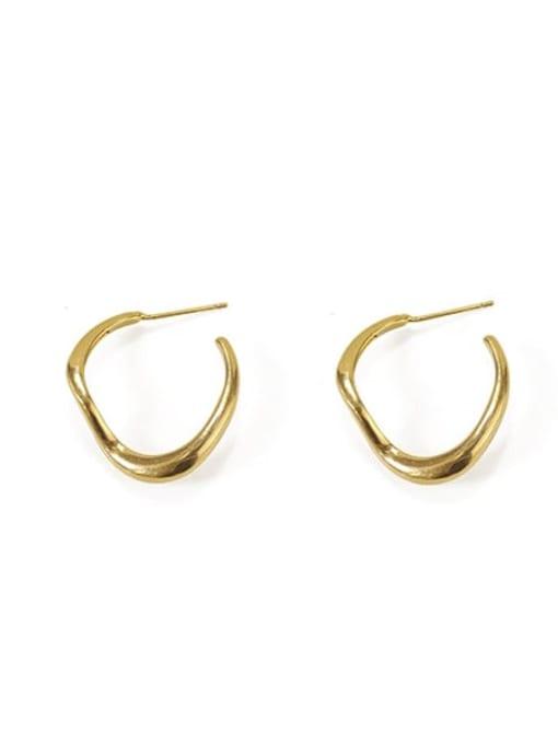 Item 3 Brass  Smooth Irregular Vintage Stud Earring