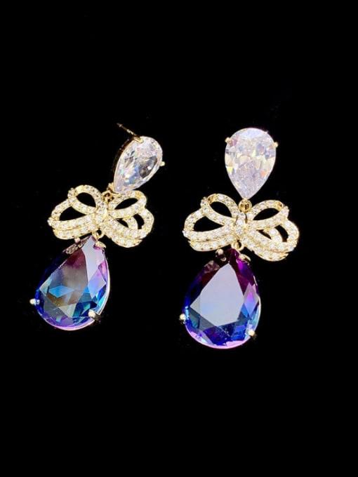 SUUTO Brass Cubic Zirconia Water Drop Luxury Drop Earring