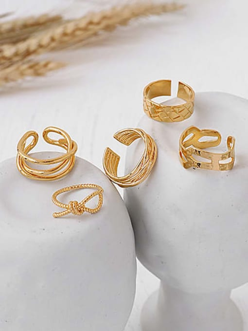 ACCA Brass Geometric Vintage Band Ring 3