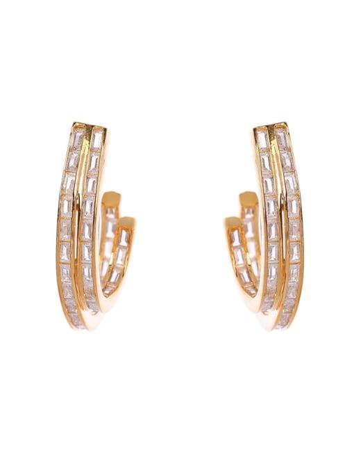 OUOU Brass Cubic Zirconia Geometric Minimalist Stud Earring 3