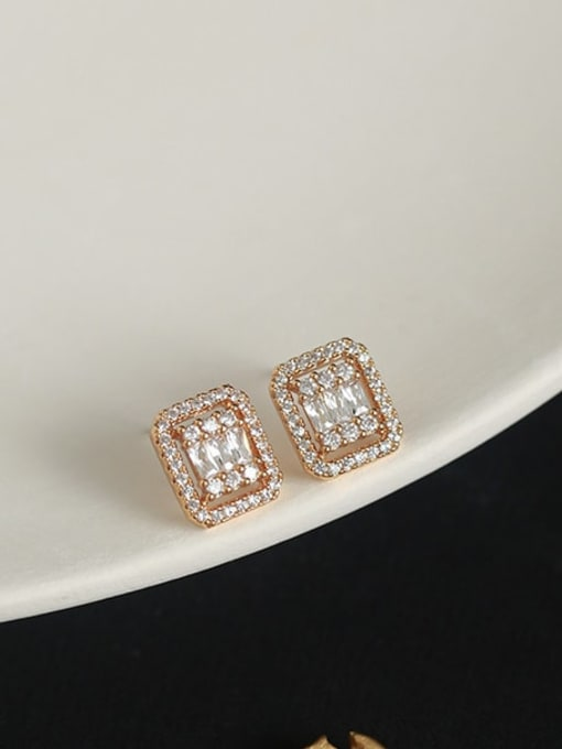 Five Color Brass Cubic Zirconia Geometric Vintage Stud Earring 0