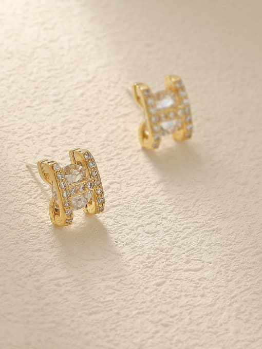 HYACINTH Brass Glass Stone Letter Minimalist Stud Trend Korean Fashion Earring 3