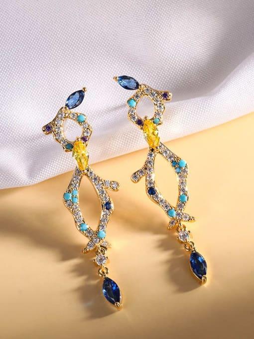 18K gold Brass Cubic Zirconia Geometric Luxury Drop Earring