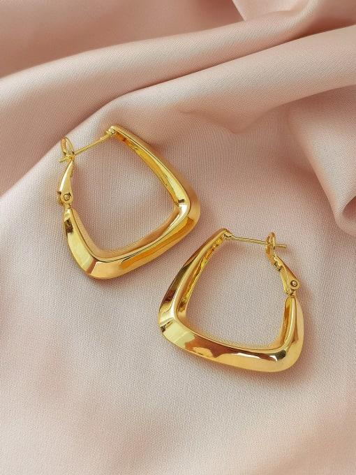 HYACINTH Brass Hollow Geometric Minimalist Huggie Earring 2