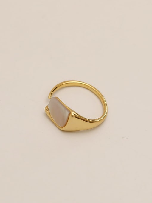 HYACINTH Brass Shell Geometric Minimalist Band Ring 0