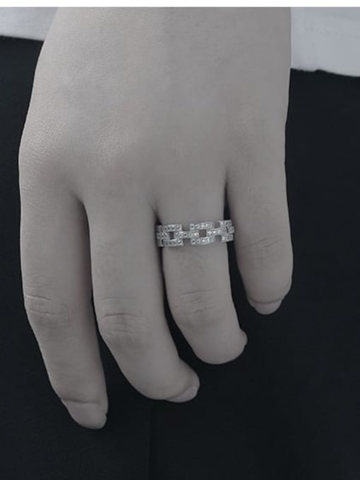 TINGS Brass Cubic Zirconia Geometric Minimalist Band Ring 1