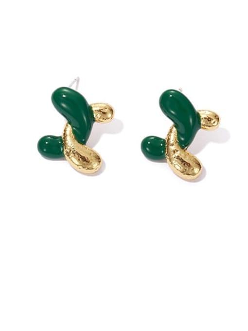 Oil Drop Earrings Brass Enamel Geometric Minimalist Stud Earring