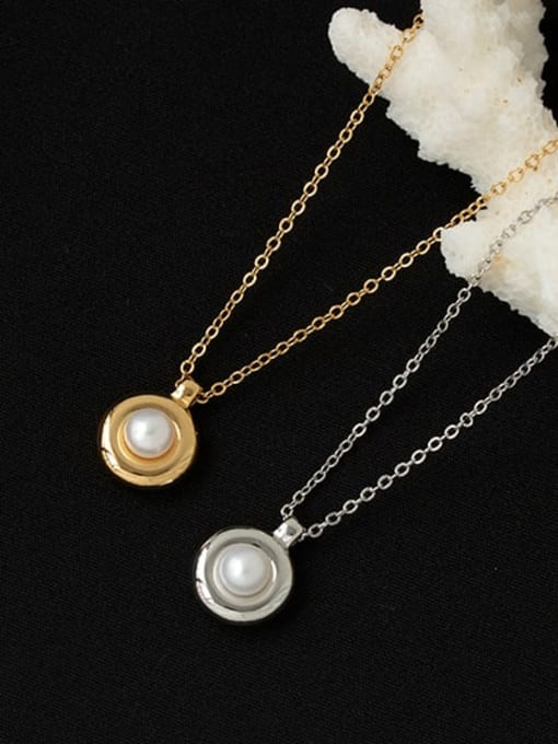 ACCA Brass Imitation Pearl Geometric Vintage Necklace