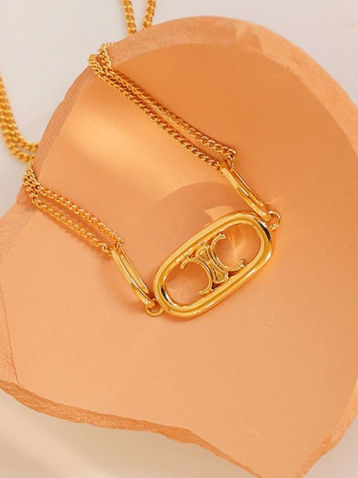 Five Color Brass Geometric Hip Hop Multi Strand Hollow Chain Necklace 2