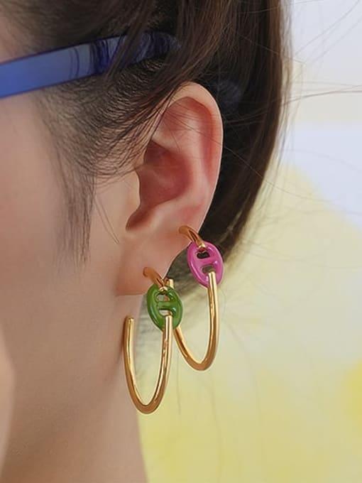 Five Color Brass Enamel Geometric Minimalist Hoop Earring 1