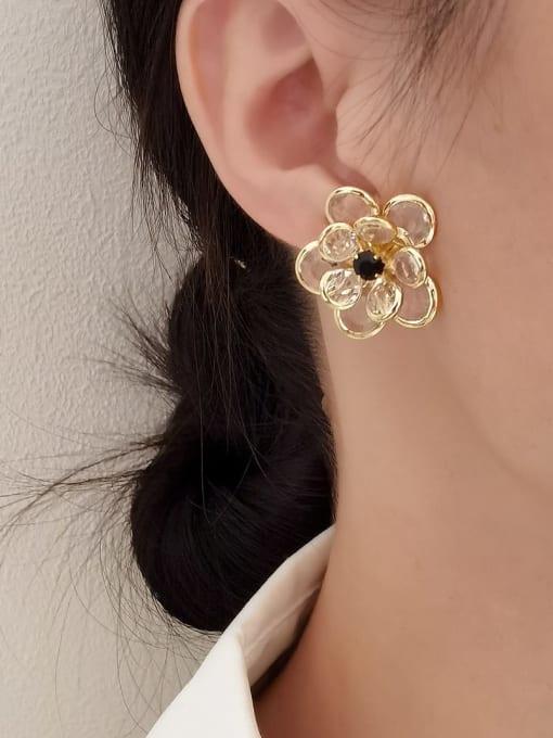 HYACINTH Brass Cubic Zirconia Flower Vintage Stud Earring 1