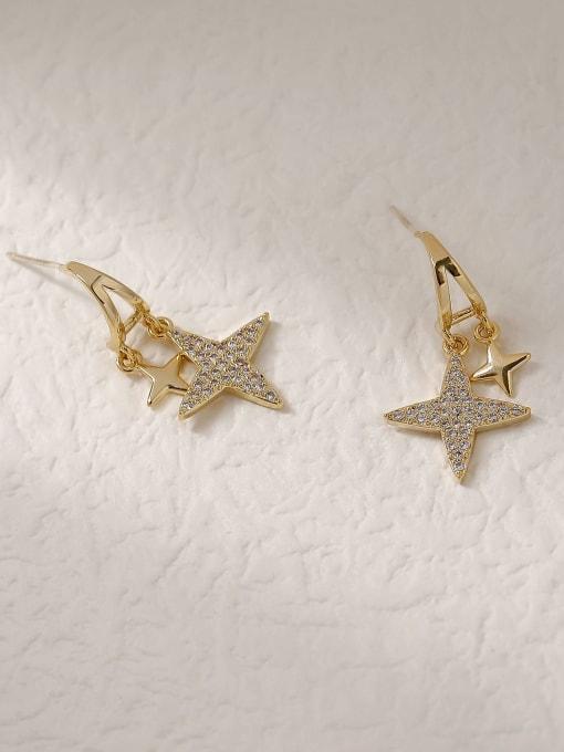 HYACINTH Brass Cubic Zirconia Star Vintage Stud Trend Korean Fashion Earring 2
