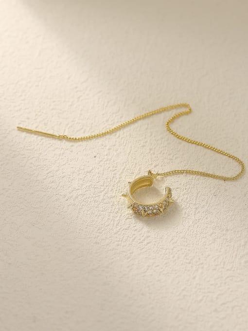 14k gold Brass Tassel Vintage Threader Earring
