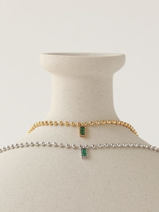 TINGS Brass Bead Chain   Minimalist Geometric Pendant Necklace 4