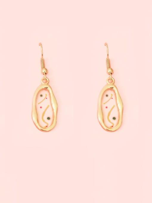 Five Color Alloy Enamel Geometric Ethnic Hook Earring