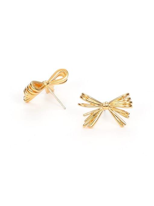 golden Brass Rhinestone Bowknot Minimalist Stud Earring