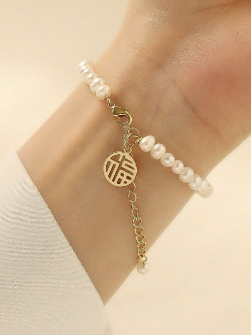HYACINTH Brass Imitation Pearl Geometric Minimalist Beaded Bracelet 1