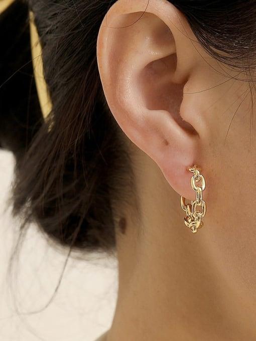 HYACINTH Brass Hollow Geometric Minimalist Hoop Earring 2