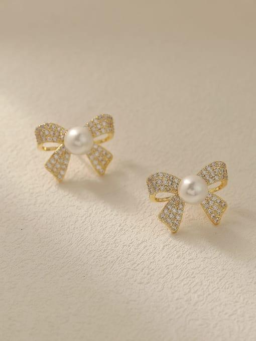 HYACINTH Brass Cubic Zirconia Butterfly Vintage Stud Trend Korean Fashion Earring 2