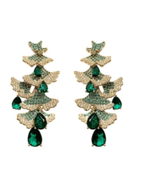 OUOU Brass Cubic Zirconia Christmas Tree  Luxury Drop Earring 0