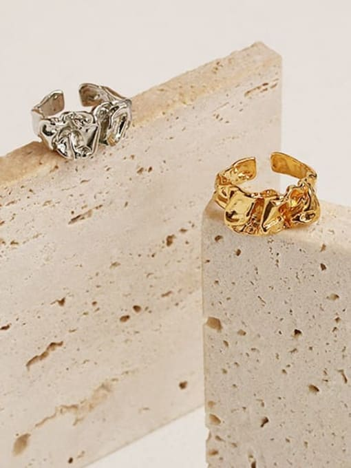 ACCA Brass Irregular Geometric Vintage Band Ring 0
