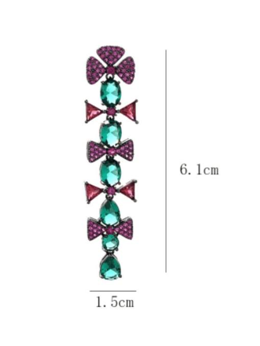 SUUTO Brass Cubic Zirconia Flower Vintage Drop Earring 4