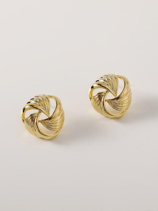 HYACINTH Brass Hollow Geometric Vintage Stud Earring 2