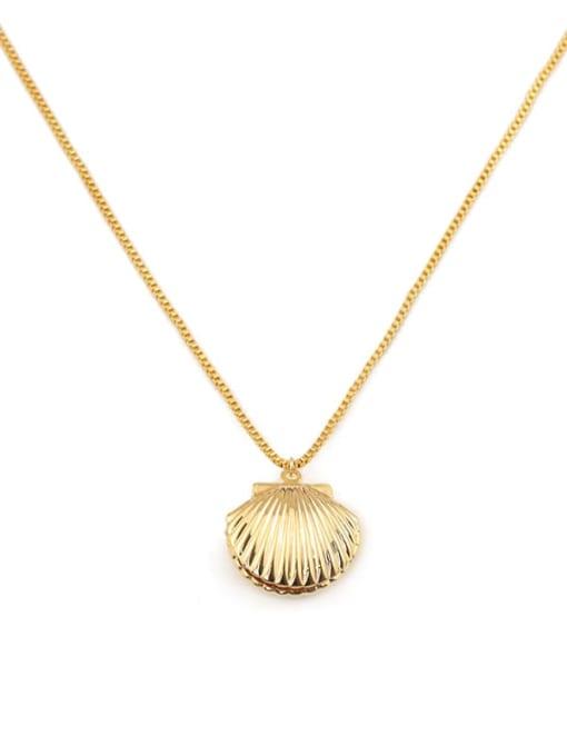 ACCA Brass Irregular Minimalist  shell pendant Necklace 3