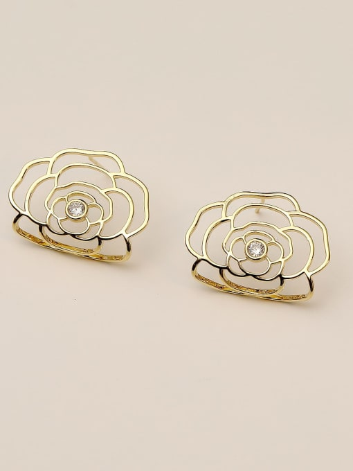 HYACINTH Brass Hollow Flower Cute Stud Earring 2