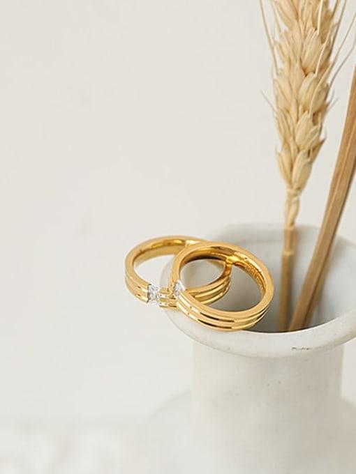 ACCA Brass Cubic Zirconia Round Minimalist Band Ring 0