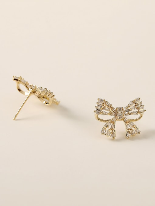HYACINTH Brass Cubic Zirconia Bowknot Vintage Stud Earring 3