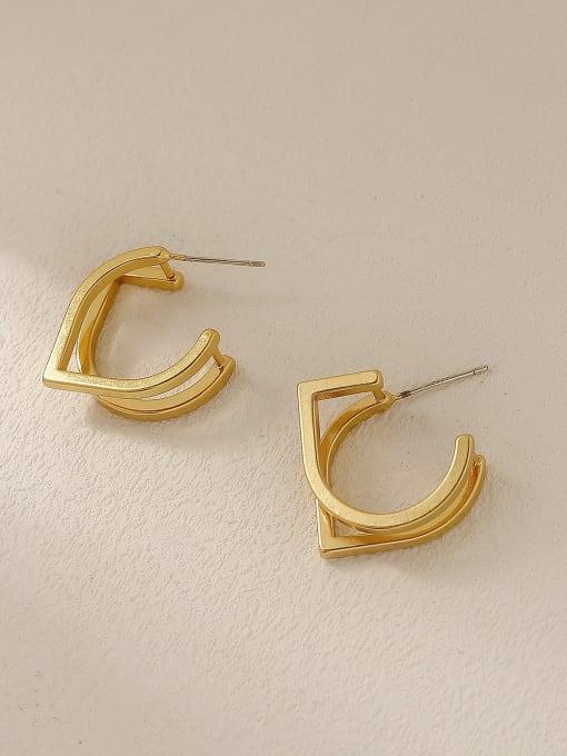 Dumb gold Brass Geometric Minimalist Stud Trend Korean Fashion Earring