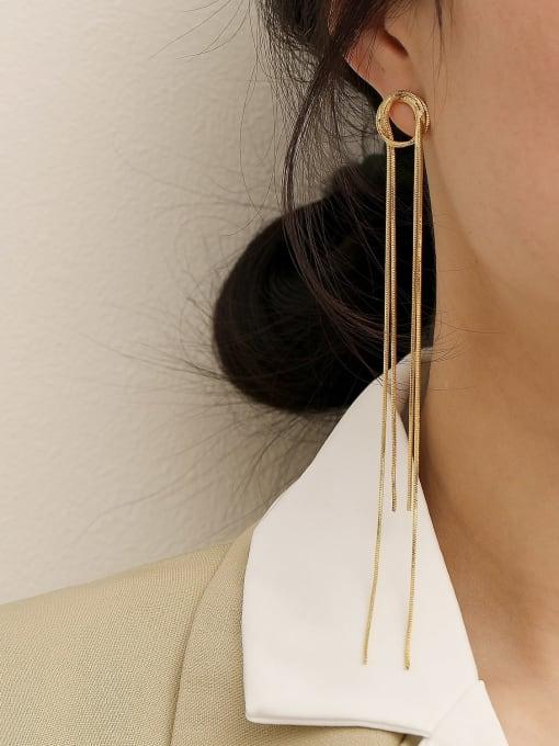 HYACINTH Brass Tassel Minimalist Threader Earring 1