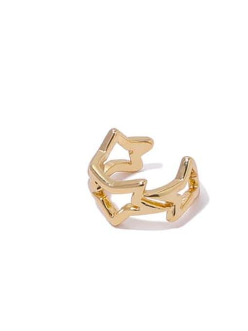 Section 3 single Brass Hollow geometry Hip Hop Single Earring