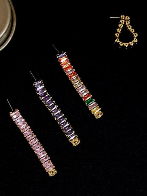 Five Color Brass Cubic Zirconia Rainbow Minimalist Drop Earring 1