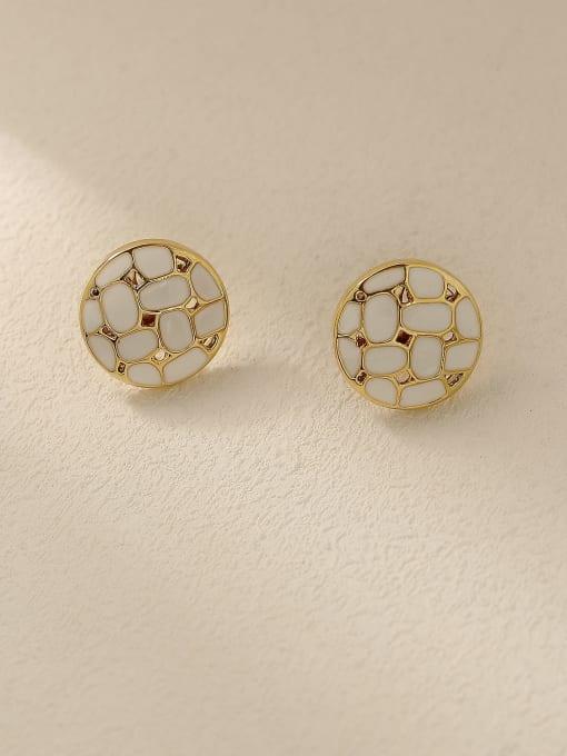 14k gold+white Brass Enamel Geometric Vintage Stud Earring