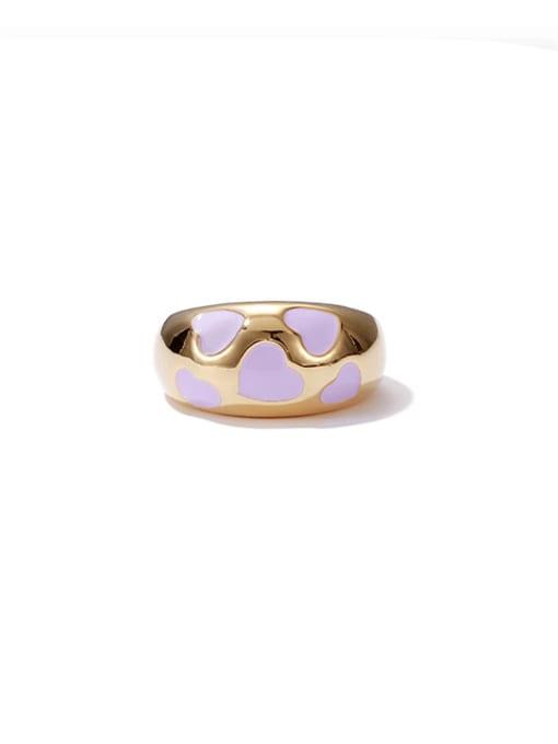 purple oil drop ring Brass Enamel Geometric Vintage Band Ring