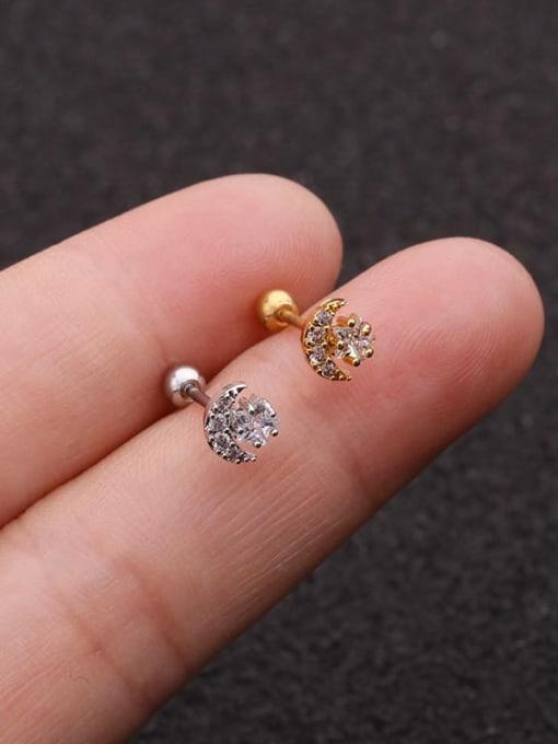 HISON Brass Cubic Zirconia Star Minimalist Stud Earring 1