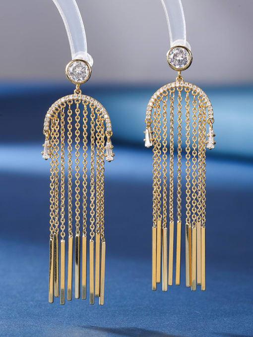 golden Brass Cubic Zirconia Tassel Ethnic Threader Earring