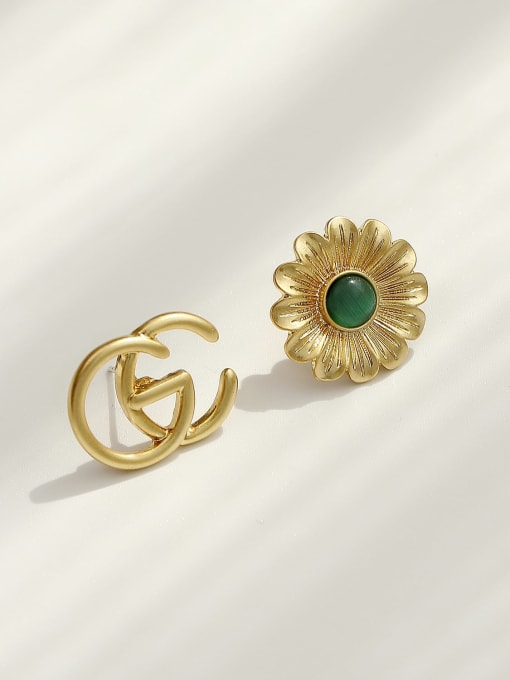 HYACINTH Brass Acrylic Asymmetric flowers Geometric Vintage Stud Trend Korean Fashion Earring